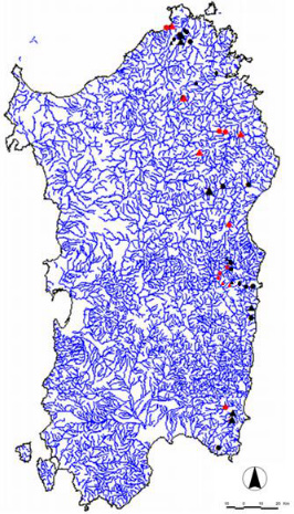Investigated water bodies location in Sardinia (rivers). Red dots: reference sites. Triangles: nutrient addition sites