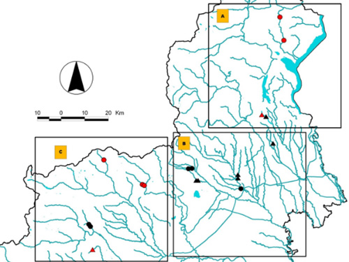 Investigated water bodies location in Piedmont (rivers). Red dots: reference sites. Triangles: nutrient addition sites.
